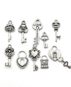 Silver Plated Key Charm Pendants for Bracelet
