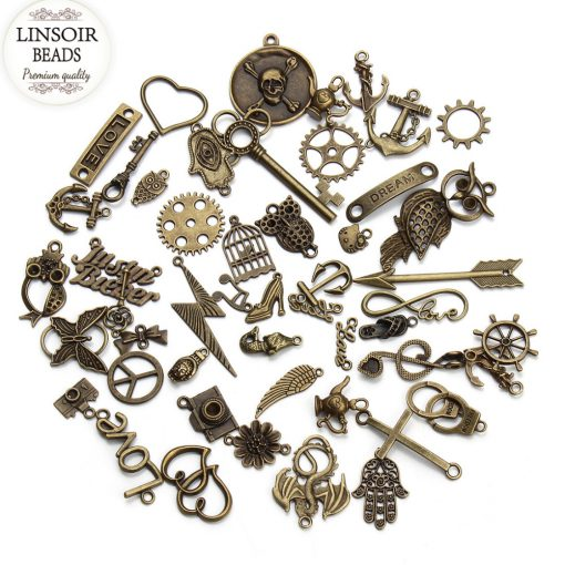 50 pcs / lot Antique Bronze Charms