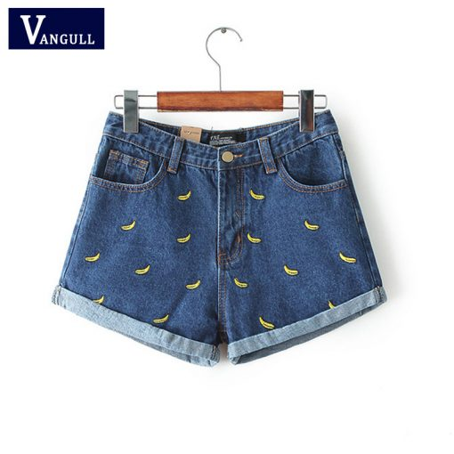 Denim Shorts with Banana Embroidery