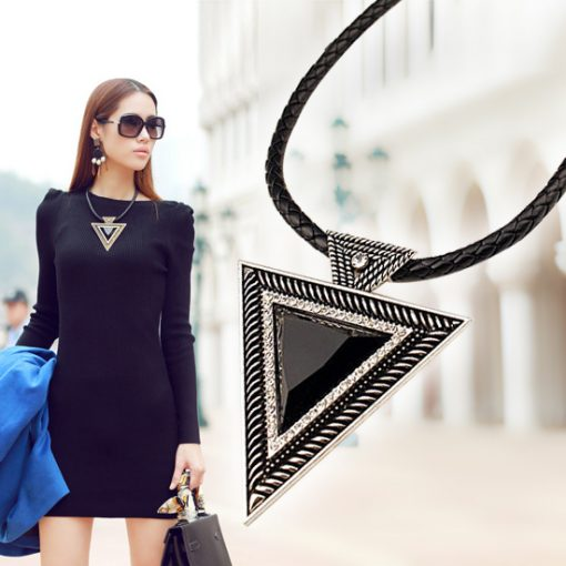 Triangle Pendants Rope Chain Necklaces