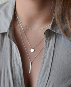 Simple Gold Silver Necklace