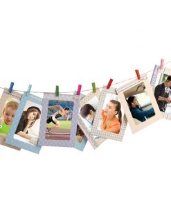 8 Pcs Rectangle Paper Photo Frame With Wood Clips