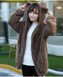 Fluffy Bear Hoodie Warm Coat