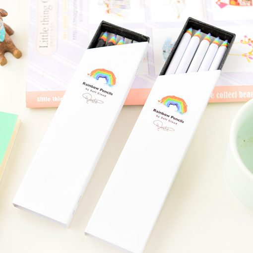 5 pcs / lot Creative Rainbow Stationery Pencils