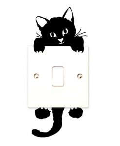Cute Black Cat Switch Wall Stickers