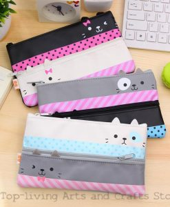 Kawaii Canvas Pencil Case for School