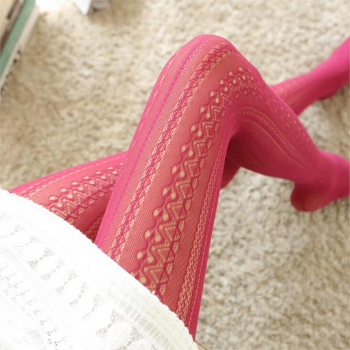Lace Vertical Strips Pantyhose Tights