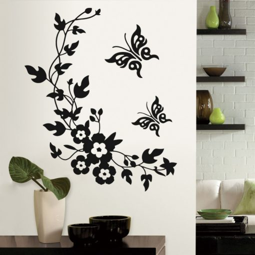 Butterfly and Flowers Wall Stickers