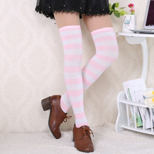 Striped Cotton High Stockings