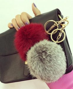 13 Colors Rabbit Fur Keychain