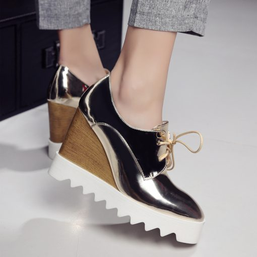 Leather Platform Shoes for Woman