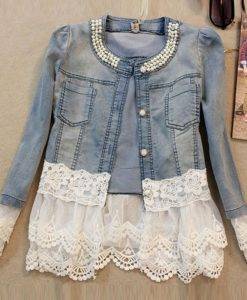 Lace Denim Jacket for Women