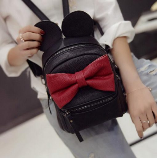 Mickey Bow Leather Backpack