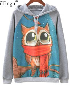 Harajuku Owl Print Long Sleeve Sweatshirt Hoodies