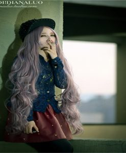 100 cm Long Curly Purple Wig