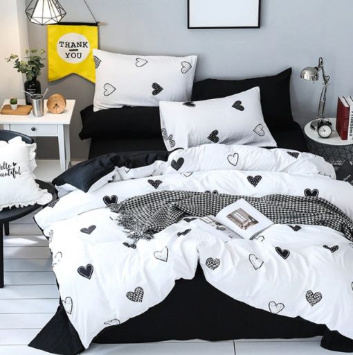 black white heart bedding set