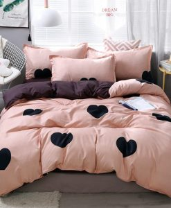 black hearts print bedding set