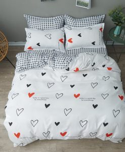 black red white heart bedding set