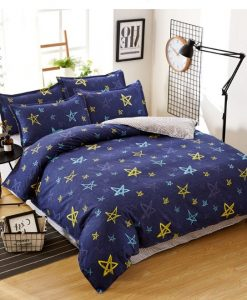 kawaii blue five pointed star bedding set