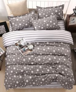 gray star bedding set