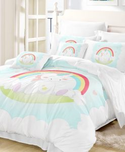 rainbow unicorn in blue sky bedding set