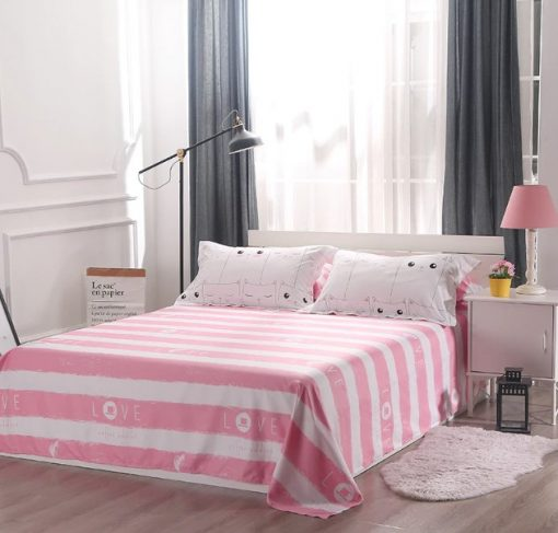 kawaii white and pink bedding set